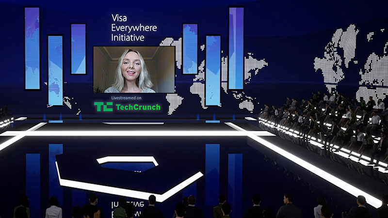 Virtual Visa Everywhere Initiative stage environment, livestreamed by by TechCrunch