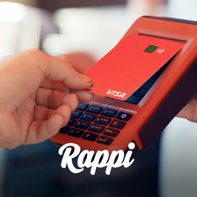 Person using Rappi card at point-of-sale, with Rappi logo at bottom of photo.